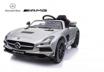 賓士Benz 原廠授權 SLS 影音版 雙驅兒童電動車 烤漆銀