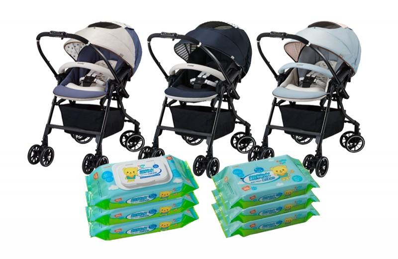 【Combi】Handy Auto 4 Cas Light雙向超輕量嬰兒手推車+Kumakun超純水濕巾箱購組