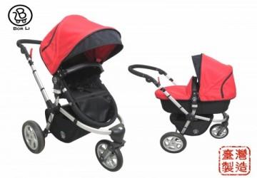 【台灣製】DOIS歐風時尚 三輪多功能雙向嬰兒車全配 (含平躺睡籃, 座椅, 蚊帳, 雨罩)