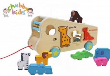 動物巴士純木質拖拉車