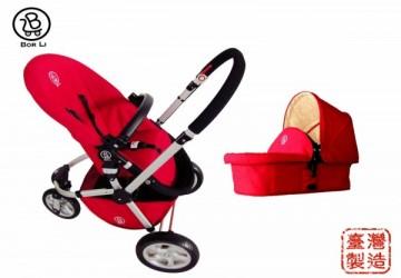 【台灣製】CLASSIC城市時尚 三輪雙向多功能嬰兒車全配(含提籃,座椅,蚊帳,雨罩)