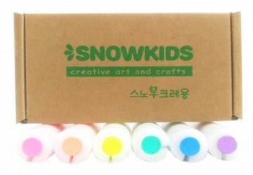 韓國SNOWKIDS天然安全兒童藝術遊戲專家-寶寶安全無痕塗鴉蠟筆/ 6色組: 冰雪藍、杏玫红、極光黃、粉凝綠、芋藕紫、橙柚橘(限每日開展前10位)
