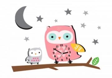 韓國FUNYZ童話夢境無聲壁掛時鐘-固定款-星空親子貓頭鷹(含立體/平面裝飾壁貼整組)(限每日開展前10位)