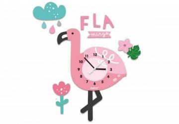 韓國FUNYZ童話夢境無聲壁掛時鐘-搖擺款-搖擺火烈鳥(含立體裝飾壁貼)(限每日開展前10位)