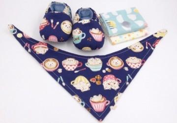 咖啡拉花熊(藍底)-彌月寶寶禮盒
