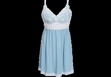 無鋼圈睡衣 Hush【獨家2in1】法式浪漫 縷空蕾絲 洋裝家居服-藍