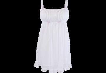幸福的樂章 透膚雪紡短洋裝家居服-白