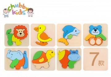 單片裝木製拼圖 (8款動物)